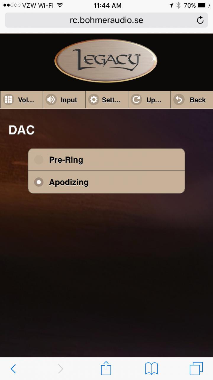 Legacy Wavelet Web browser, DAC filters