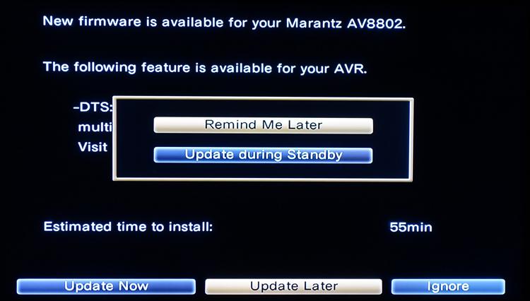 Marantz AV8802 DTS:X Firmware Upgrade Interface