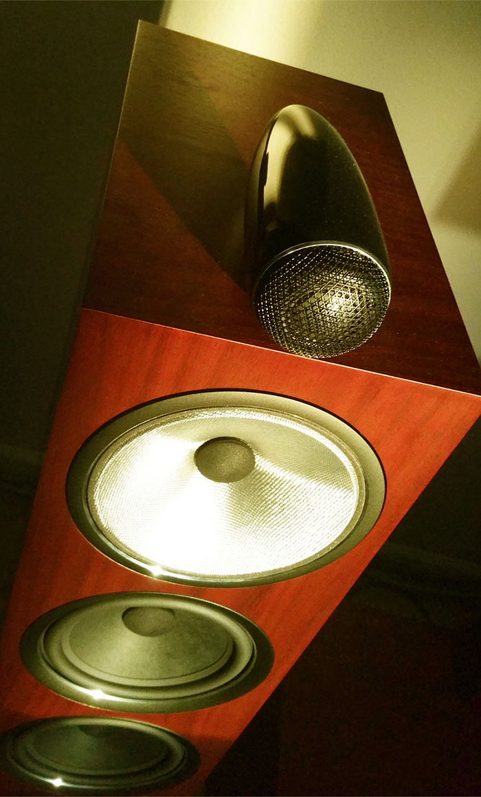 Closer look of the solid body Carbon Dome tweeter, the Continuum Cone driver, and the Aerofoil bass drivers
